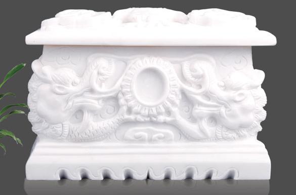 汉白玉祥龙骨灰盒